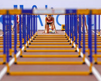 100 metres womens hurdles germany. MONCTON, CANADA - JULY 21: Jenna Pletsch of Germany prepares for the women's 100 metres hurdles at the 2010 IAAF World Junior Royalty Free Stock Images