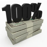 100% money. Stack of money with 100 percent Royalty Free Stock Photo