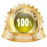 100 Money Back Guarantee Icon. 100% Money Back Guarantee Golden Icon Royalty Free Stock Images