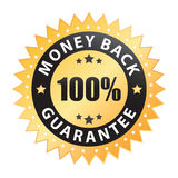 100% money back guarantee label (vector). Vector image of a 100% money back guarantee label, isolated on white Royalty Free Stock Photo