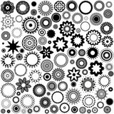 100 Monochrome shapes. 100 black and white shapes and patterns Stock Illustration