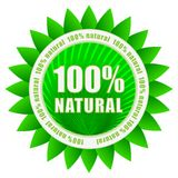 100% natural. Certificate vector label Stock Photos