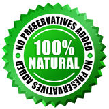 100 natural. No preservatives label over white Royalty Free Stock Images
