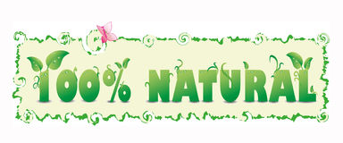 100% natural. Green 100% natural text with leafs and water drops Stock Photography
