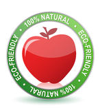100% natural apple seal illustration design. Over white Royalty Free Stock Photos