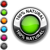 100% Natural button. 100% Natural realistic green button stock illustration