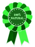 100% natural green label. On white background stock illustration