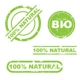 100% natural grunge stamp set Royalty Free Stock Photo