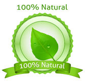 100% Natural label. 100% Natural. Vector natural label stock illustration