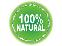 100 % NATURAL label. 100 % NATURAL green label illustration royalty free illustration