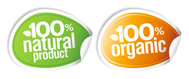 100% natural product stickers. 100% natural product, 100% organic stickers set Royalty Free Stock Image