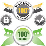 100% natural, satisfaction guaranteed. Buttons lock and check stock illustration