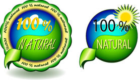 100 % natural - seals vector. Vector illustration icon, sign off - 100 % natural Stock Photography