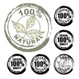 100% natural stamp. Vector advertising natural looking stamp (label, sign, seal, icon) for 100% natural / original product Stock Photos