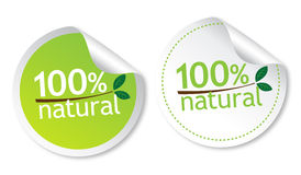 100% natural stickers Stock Photos