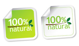 100% natural stickers Stock Photo