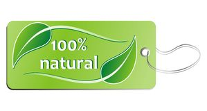 100% natural tag Stock Photo
