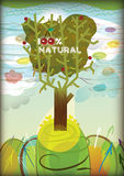 100% natural tree. Beautiful background with green tree vector illustration