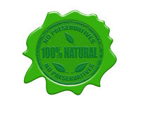 100% natural wax seal. Wax seal with the text 100% natural, no preservatives, vector illustration Royalty Free Stock Photos