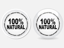 100% natural web buttons. Vector illustration Royalty Free Stock Photography