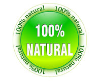 100% natural web glossy icon. Vector illustrated Royalty Free Stock Photo