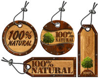 100% Natural - Wooden Tags - 4 items. Four wooden tags - 100% Natural with tree, steel cable and metal rivets vector illustration