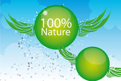 100 nature illustration. Green 100 nature with wing over sky background. illustration royalty free illustration