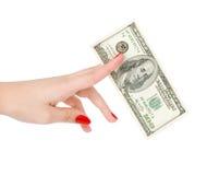 $ 100 nel braccio delle donne Immagini Stock