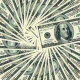 100 notas de banco do dólar ao redor. Imagens de Stock Royalty Free