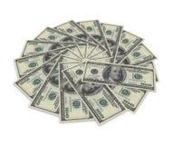 $100 notas de banco no fundo branco Fotos de Stock