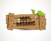 100% orgânico - bio ícone de madeira Imagem de Stock Royalty Free