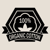 100% Organic Cotton Seal. In Black & White Royalty Free Stock Photos