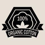 100% Organic Cotton Seal. In Black & White stock illustration