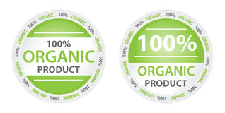100% Organic Product Label in 2 Versions. Two versions of green labels with title 100% organic product vector illustration