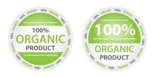 100% organischer Produkt-Kennsatz in zwei Versionen Stockfotografie