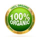 100 organiska procent för emblem Fotografering för Bildbyråer
