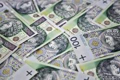 100 pengar polerad zloty Arkivbilder