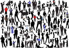 100 people silhouettes Stock Images