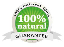 100 per natural. 100 percent natural product label Royalty Free Stock Photography