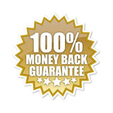 100 percent. A hundred percent money back guarantee sign in gold Royalty Free Illustration