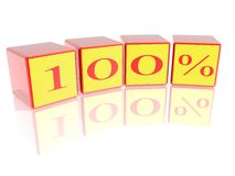 100 Percent. One Hundred Percent made from cubes isolated in white Royalty Free Stock Photography