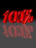 100 percent in black and red, reflected Royalty Free Stock Image