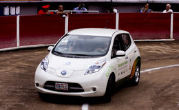 100 percent electric car Nissan LEAF. Advertising to promote 100 percent electric car without exhaust, Nissan LEAF, placed in the Monumental bullring in Stock Photography
