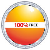 100 percent free. A button with 100% free Royalty Free Stock Image