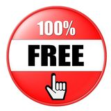 100 percent free. A button with 100% free and a finger pointing up Royalty Free Stock Photo