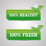100 percent fresh - healthy button.  Royalty Free Stock Photos