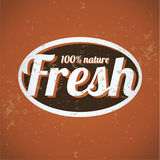 100 percent fresh - nature vintage print. Vector stock illustration