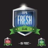 100 percent fresh Organic shield set Royalty Free Stock Image