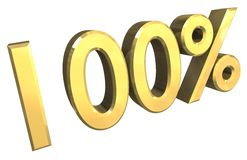 100 percent in gold (3D). 100 percent in gold (3D made Royalty Free Stock Photography