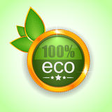 100 percent green eco button. Or badge with fresh leaves Vector Illustration